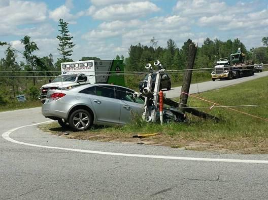 Car hit power pole