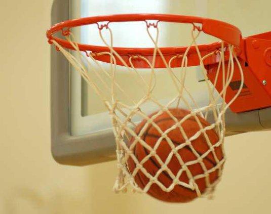 Basketball through hoop