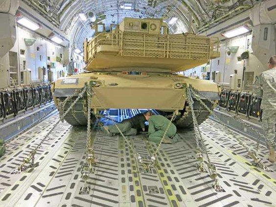 Abrams tank being secured inside C-17