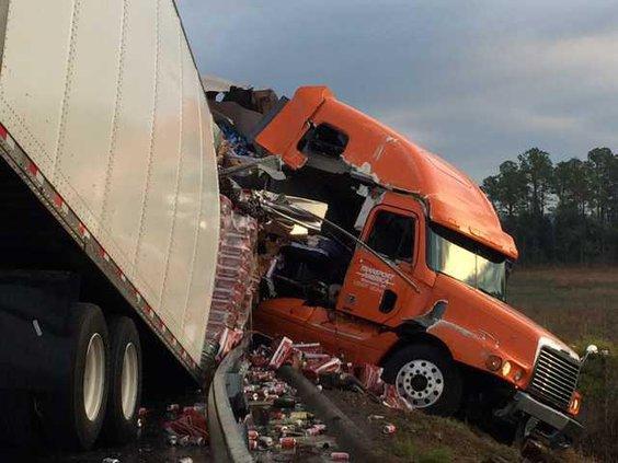 Beer truck spill