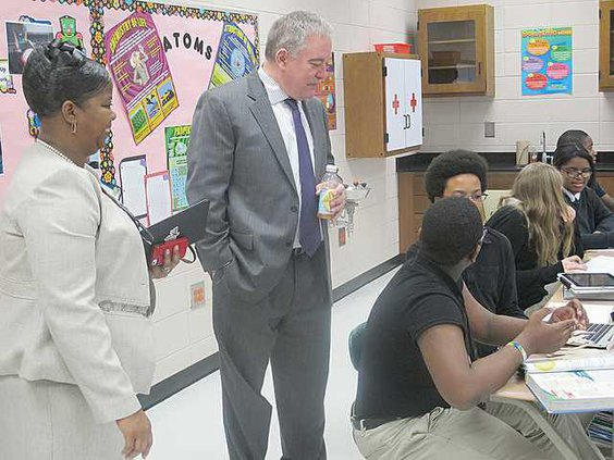 Midway Middle Principal Debra Frazier and Georgia Superintendent Richard Woods visit as science class and talk to students about what they are learning