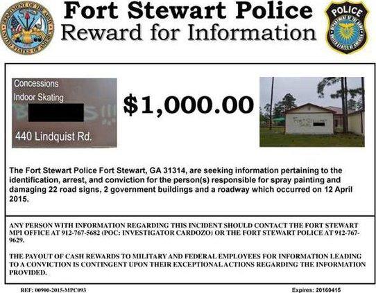 Reward Poster - 1000 for information on graffiti