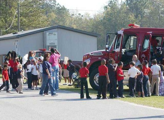 EDU career fair fire truck line 0404