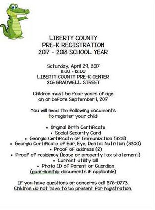 Liberty County Pre-K registration