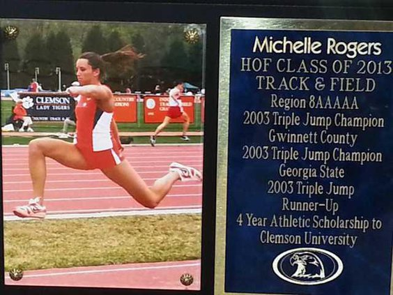 Michelle Rogers plaque on HoF Wall