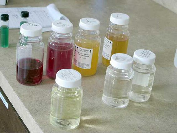 water samples with test contaminated standard