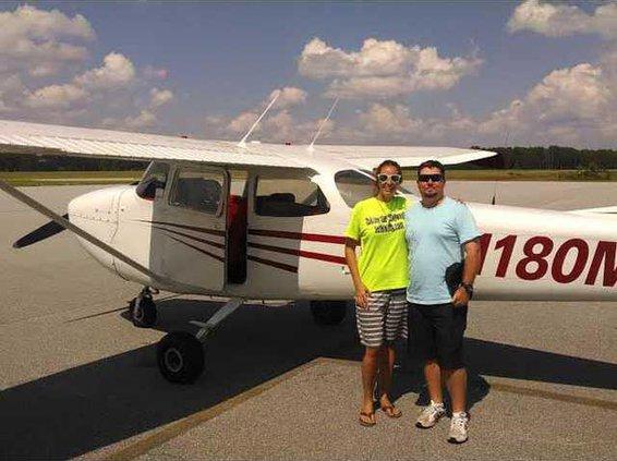 Photo provided - Landing in Hinesville with pilot Matt Brinker