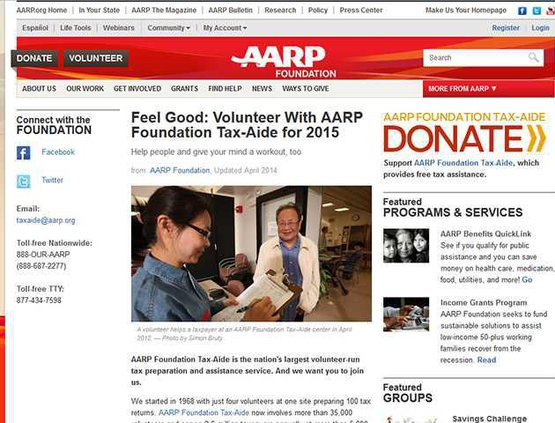 aarp tax page