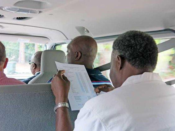 heads in a van