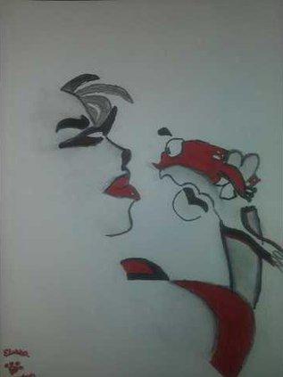 Crocked Kiss Charcoal  Ink