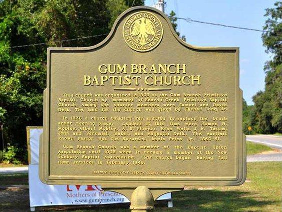 Gum Branch Bapt historical marker
