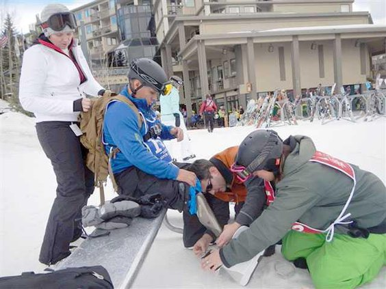wounded snowboarder
