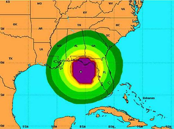 Debby tropical wind map