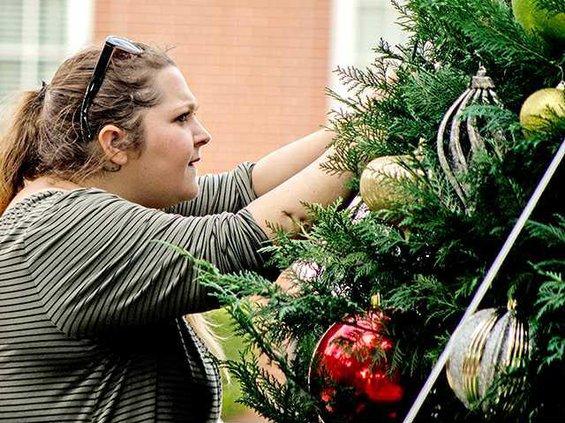 lpd 2743HDDA Program Assistant Catie Fanucci placing ornaments on the tree