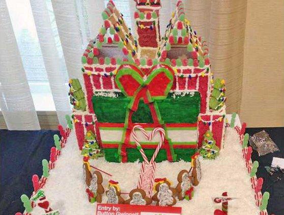 Button Gwinnett gingerbread house
