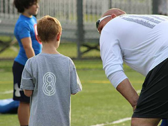 Jablonski having a word with a young athlete.