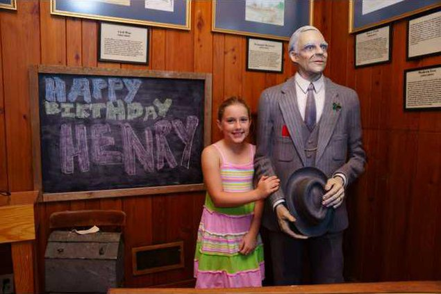 Maddie Palmer  wishing Herny Ford a Happy Birthday