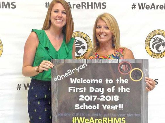 White pictured with coworker Molly Nuttall chorus director on the first day of school. Photo taken by an RHMS student