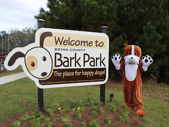 Bryan the mascot at Bryan County Bark Park photo by Evelyn Fallon