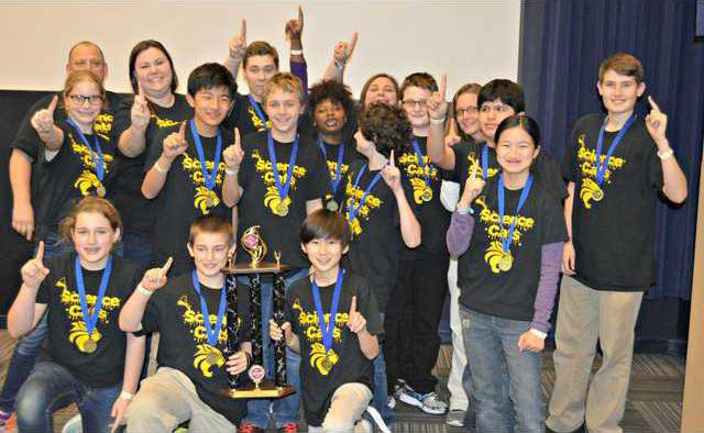 Science Olympiad team taking a moment to celebrate after competing on February 20th. Photo provided.