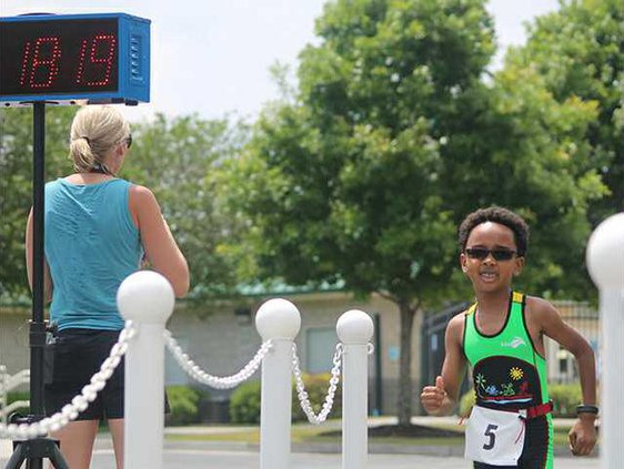 Myles at the finish line in the Splashys Triathlon in Statesboro May 1 2016