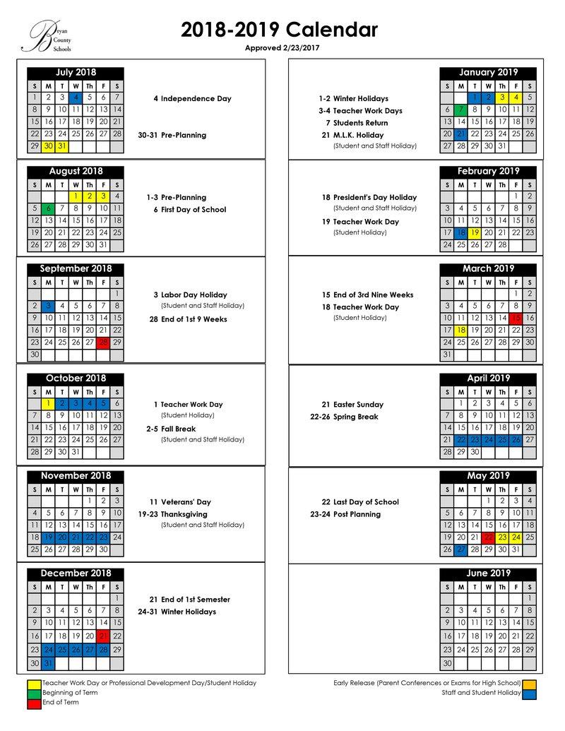 BC school calendar