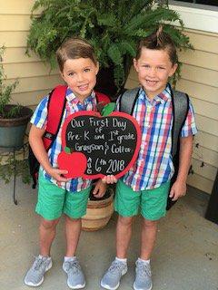 Grayson and Colton, pre-K and 1st Grade