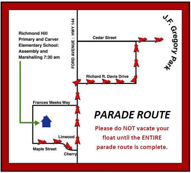 RH Christmas parade map 2018