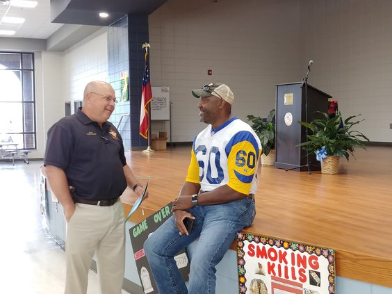 NFL Fred Stokes speaking to Long County fifth graders