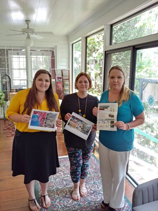From left are Liberty County CVB Creative and Content Coordinator Catie Fanucci, Communications Assistant Andrea Conyers and CEO Leah Poole.