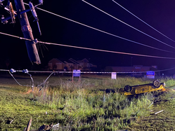 car plows into power line