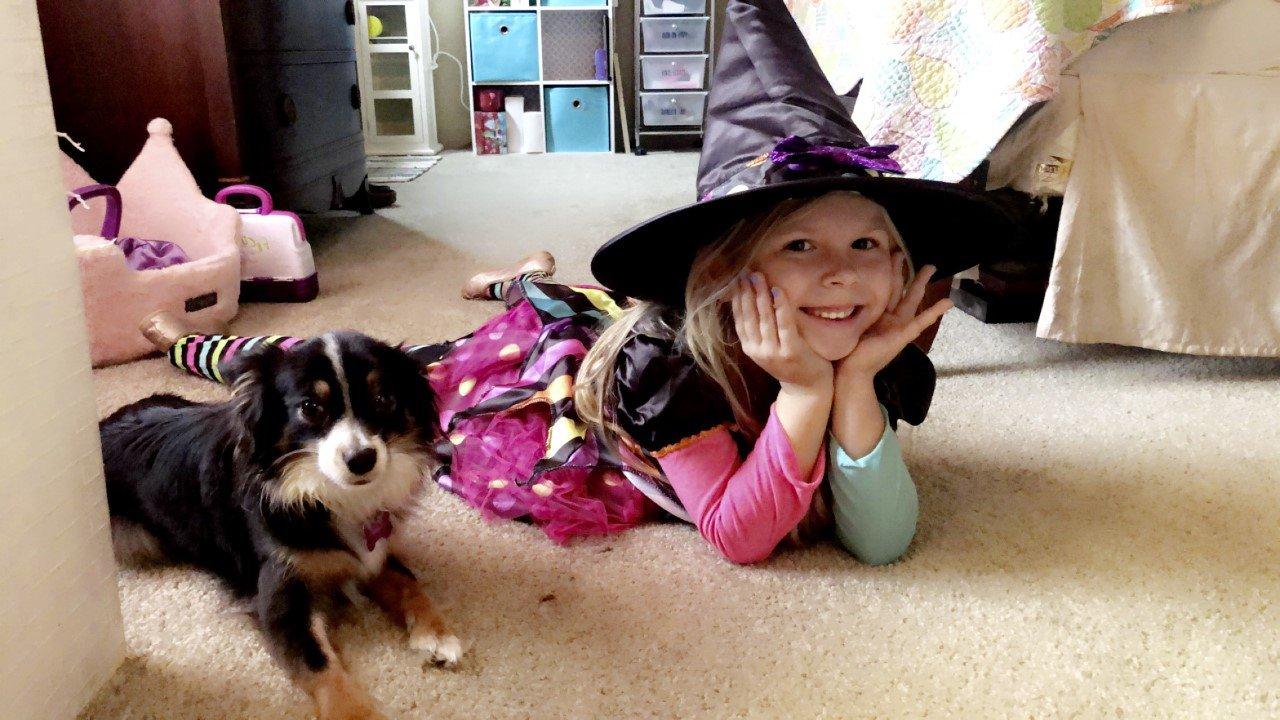 Sailor (5) and her dog Luna (2) Furlong