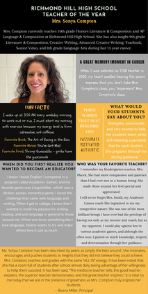 RHHS teacher of year Sonya Compton