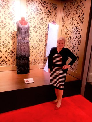 Lesley at Downton Abbey exhibit.