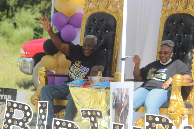 Willie and Estella Oliver at Saturday's parade celebrating his 90th birthday.